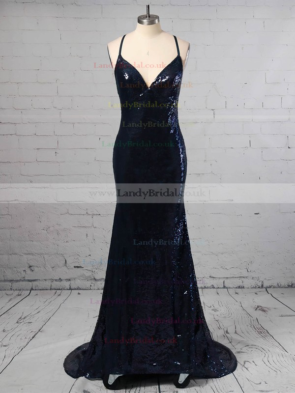 Trumpet/Mermaid V-neck Sequined Sweep Train Sequins Prom Dresses #LDB020105261
