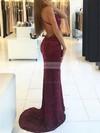 Trumpet/Mermaid V-neck Sequined Sweep Train Sequins Prom Dresses #LDB020105261