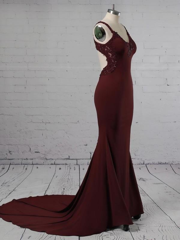 Trumpet/Mermaid V-neck Jersey Sweep Train Appliques Lace Prom Dresses #LDB020105264