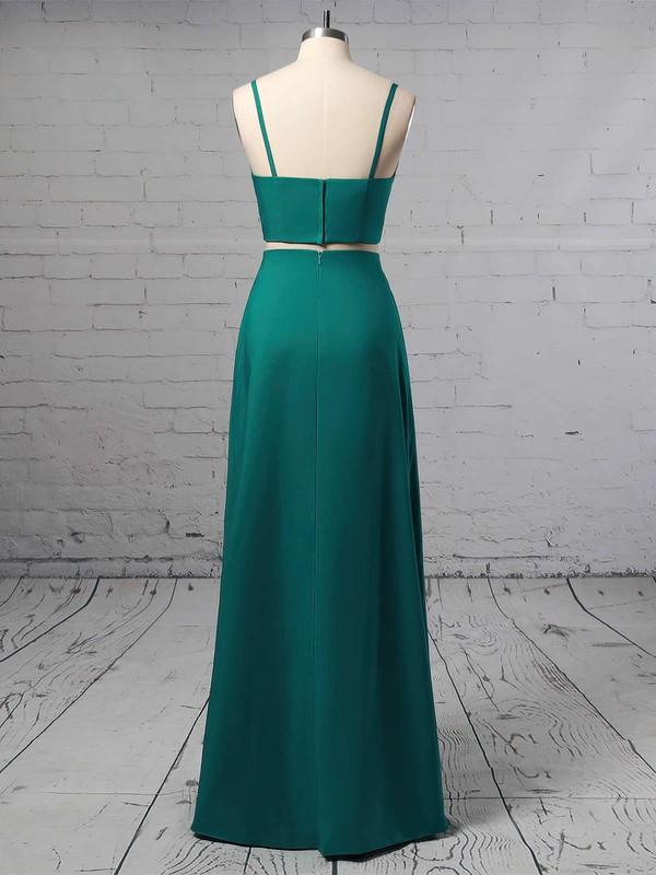A-line V-neck Silk-like Satin Floor-length Split Front Prom Dresses #LDB020105266