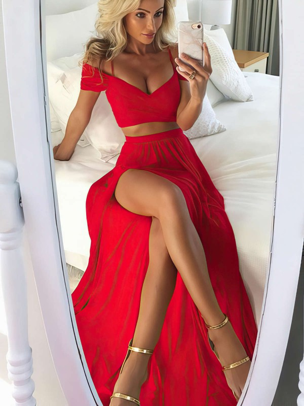 A-line Off-the-shoulder Silk-like Satin Floor-length Split Front Prom Dresses #LDB020105268