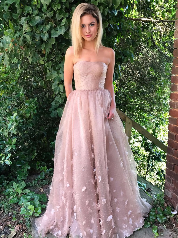 A-line Strapless Tulle Sweep Train Flower(s) Prom Dresses #LDB020105270
