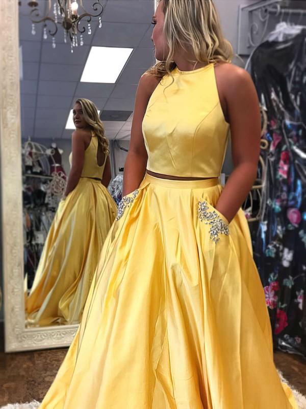 Princess Scoop Neck Satin Floor-length Beading Prom Dresses #LDB020105278