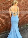 Trumpet/Mermaid Square Neckline Silk-like Satin Sweep Train Beading Prom Dresses #LDB020105282