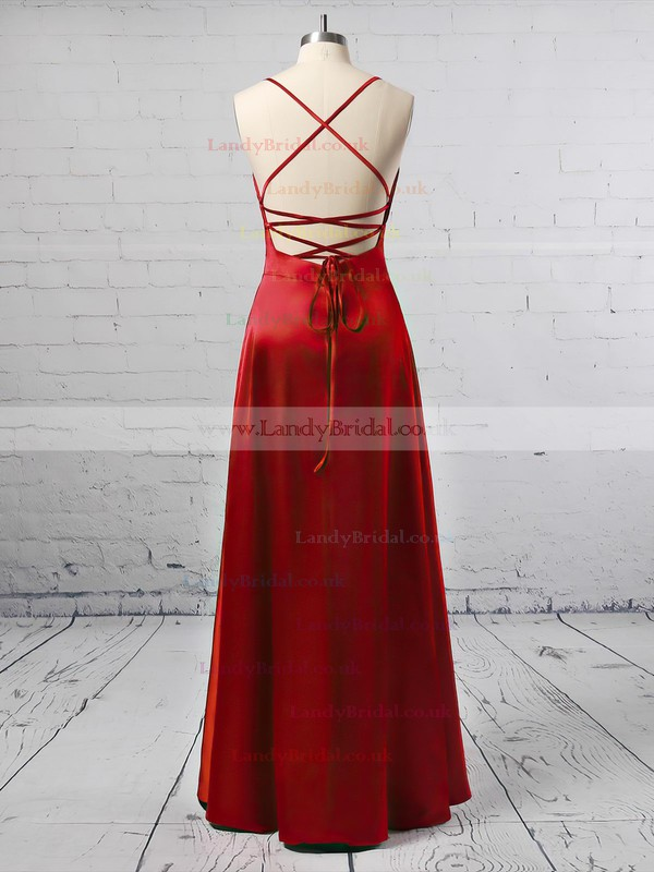 A-line Cowl Neck Silk-like Satin Ankle-length Split Front Prom Dresses #LDB020105283