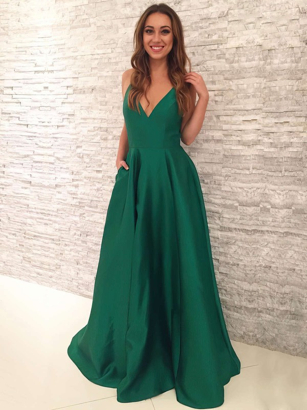 A-line V-neck Satin Sweep Train Pockets Prom Dresses #LDB020105284