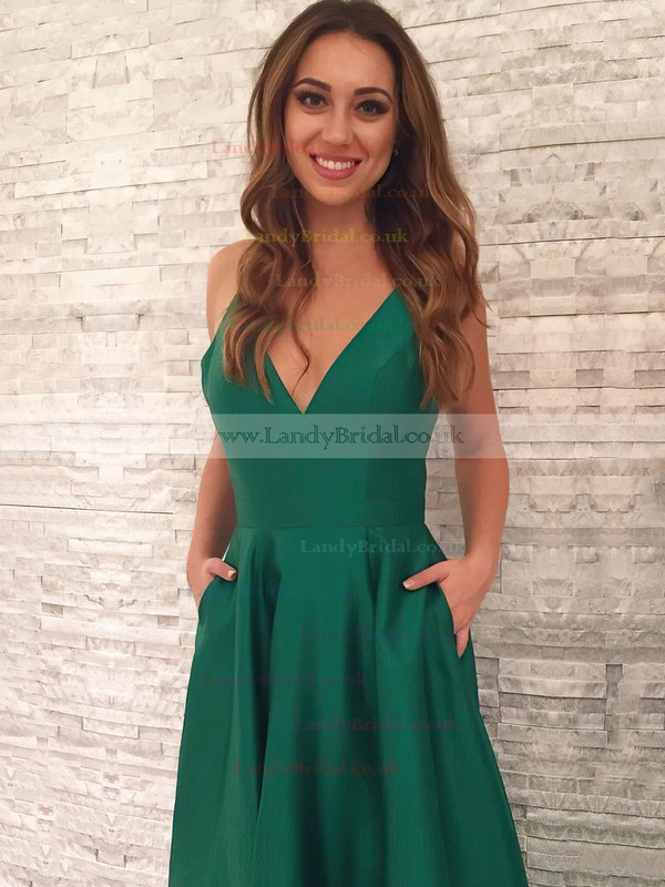 A-line V-neck Satin Sweep Train Pockets Prom Dresses #LDB020105284