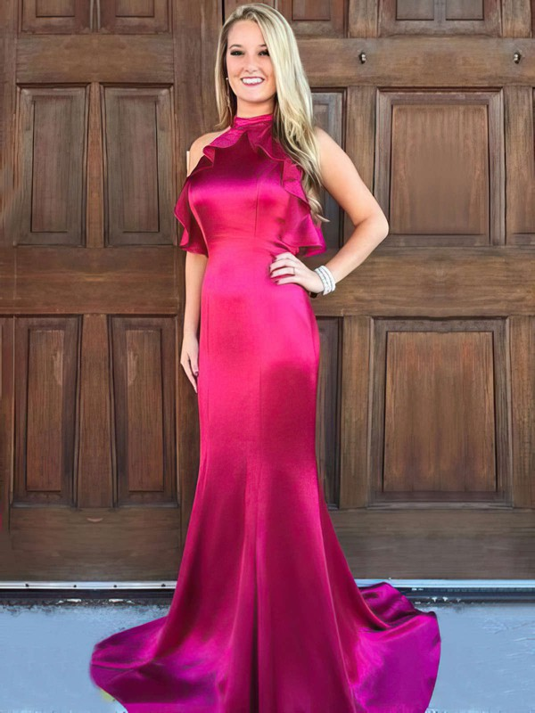 Trumpet/Mermaid High Neck Silk-like Satin Sweep Train Ruffles Prom Dresses #LDB020105306