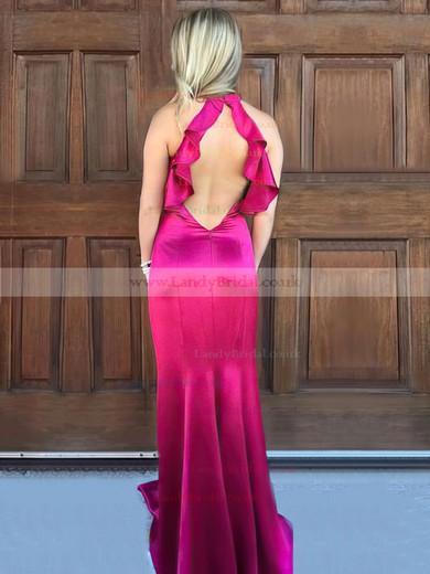 Trumpet/Mermaid High Neck Silk-like Satin Sweep Train Ruffles Prom Dresses #LDB020105306