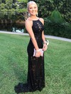 Sheath/Column Scoop Neck Lace Sweep Train Prom Dresses #LDB020105310