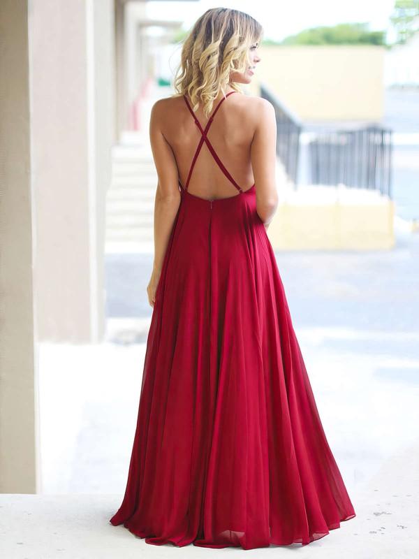 A-line Scoop Neck Chiffon Floor-length Prom Dresses #LDB020105315
