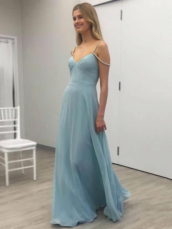 A-line V-neck Chiffon Floor-length Beading Prom Dresses #LDB020105331