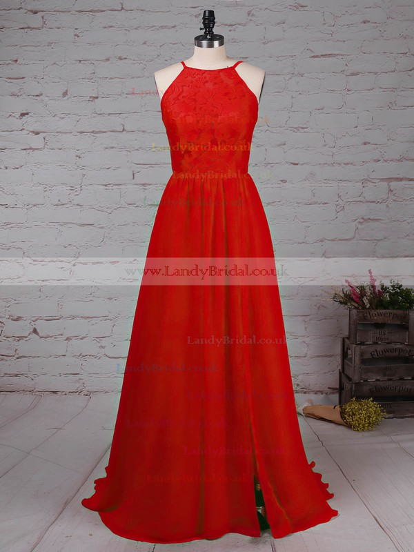A-line Scoop Neck Lace Chiffon Sweep Train Split Front Prom Dresses #LDB020105340
