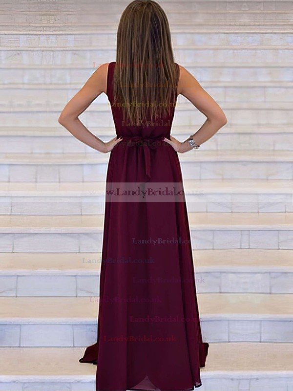 A-line V-neck Chiffon Sweep Train Sashes / Ribbons Prom Dresses #LDB020105360