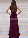 A-line V-neck Chiffon Sweep Train Sashes / Ribbons Prom Dresses #LDB020105360