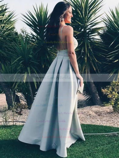 A-line V-neck Satin Floor-length Prom Dresses #LDB020105365