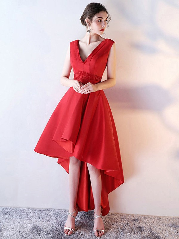 A-line V-neck Satin Asymmetrical Beading Prom Dresses #LDB020105372