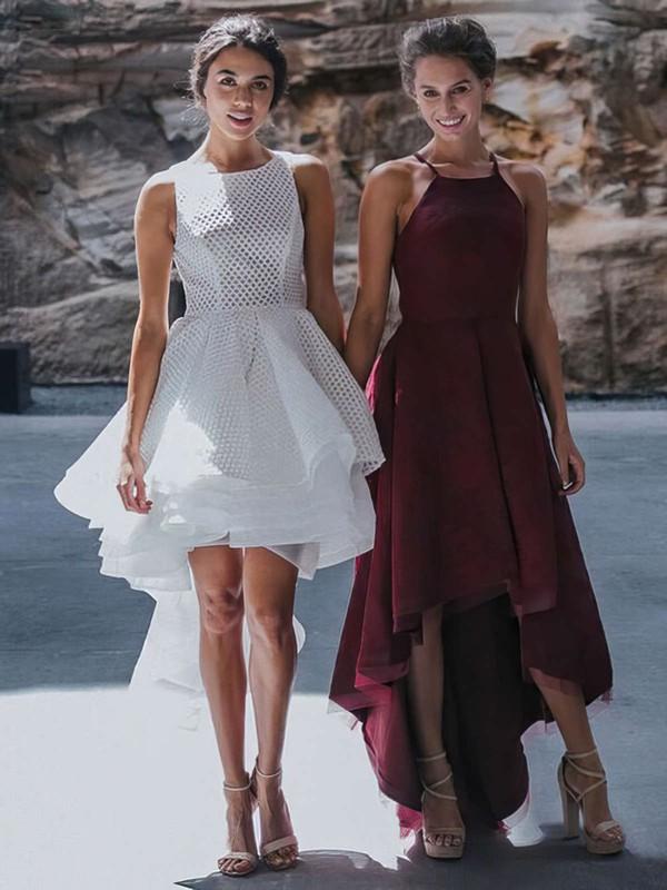 A-line Square Neckline Lace Asymmetrical Prom Dresses #LDB020105385