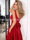 A-line Square Neckline Satin Asymmetrical Bow Prom Dresses #LDB020105397
