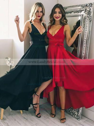 A-line V-neck Silk-like Satin Asymmetrical Sashes / Ribbons Prom Dresses #LDB020105405