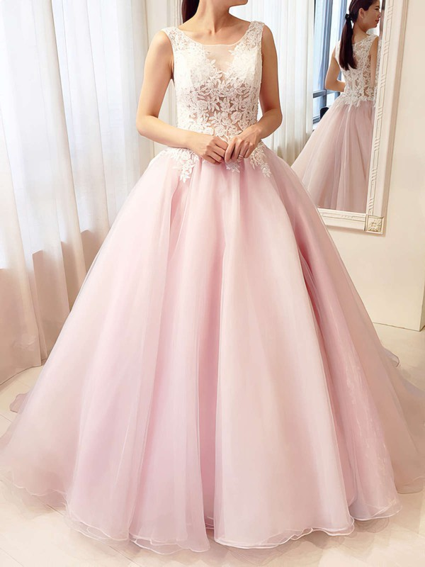Ball Gown Scoop Neck Tulle Floor-length Appliques Lace Prom Dresses #LDB020105413