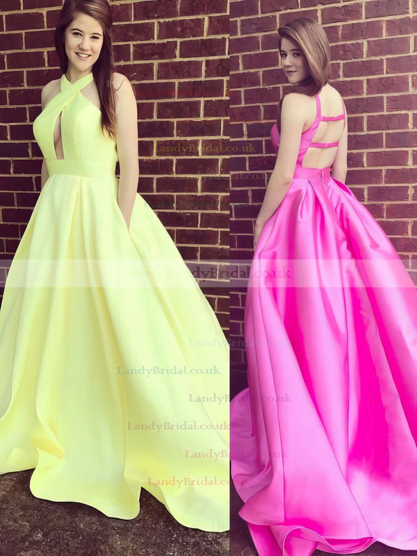 Ball Gown V-neck Satin Sweep Train Pockets Prom Dresses #LDB020105419