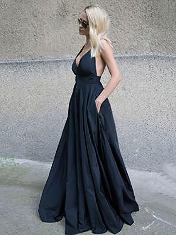 Ball Gown V-neck Satin Floor-length Pockets Prom Dresses #LDB020105455