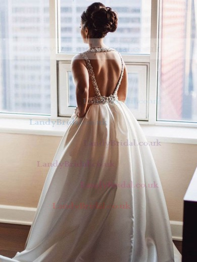 Ball Gown V-neck Satin Sweep Train Beading Prom Dresses #LDB020105459