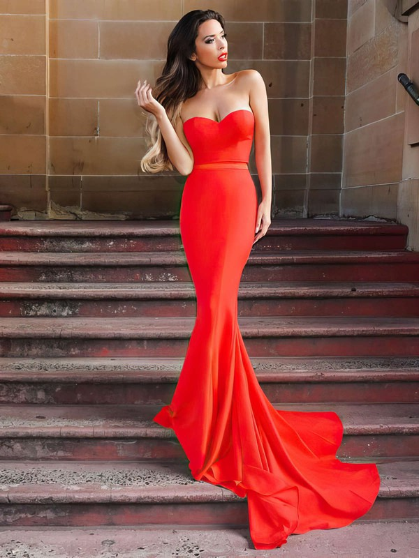 Trumpet/Mermaid Sweetheart Silk-like Satin Sweep Train Sashes / Ribbons Prom Dresses #LDB020105479