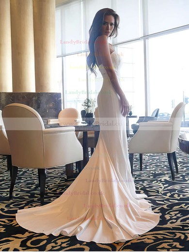 Trumpet/Mermaid Sweetheart Silk-like Satin Sweep Train Lace Prom Dresses #LDB020105480