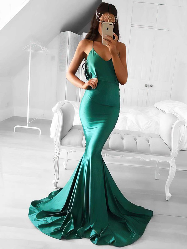 Trumpet/Mermaid V-neck Silk-like Satin Sweep Train Prom Dresses #LDB020105487