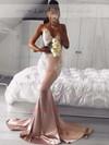 Trumpet/Mermaid V-neck Silk-like Satin Sweep Train Appliques Lace Prom Dresses #LDB020105512