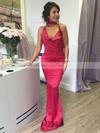 Sheath/Column Cowl Neck Silk-like Satin Sweep Train Prom Dresses #LDB020105542