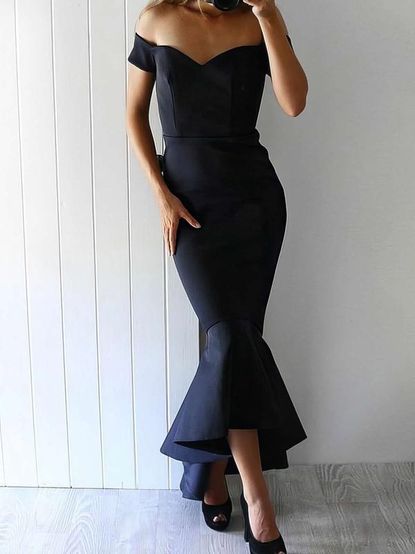 Trumpet/Mermaid Off-the-shoulder Silk-like Satin Asymmetrical Prom Dresses #LDB020105558
