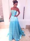 Princess Strapless Satin Sweep Train Sashes / Ribbons Prom Dresses #LDB020105559