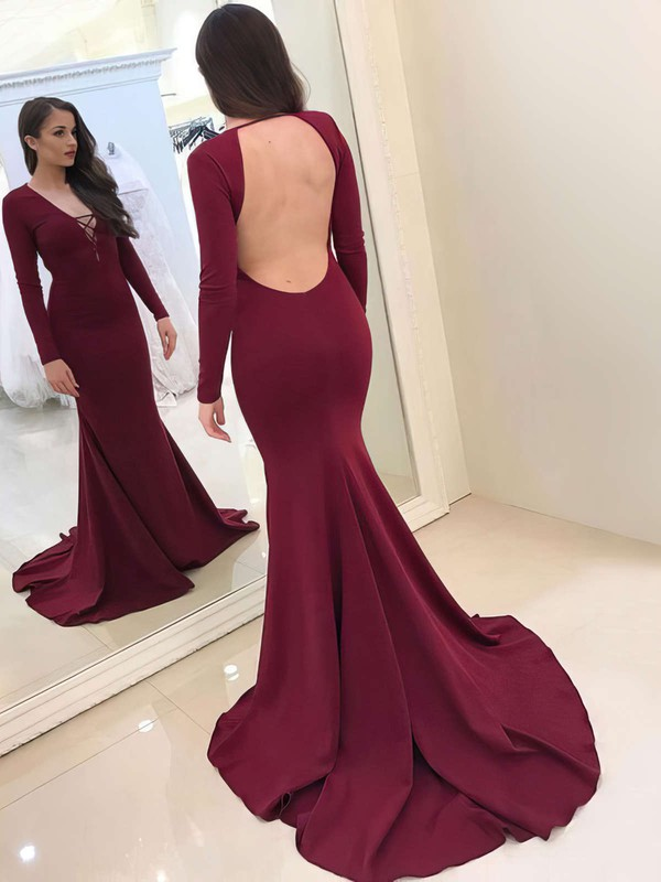 Trumpet/Mermaid V-neck Jersey Sweep Train Prom Dresses #LDB020105591