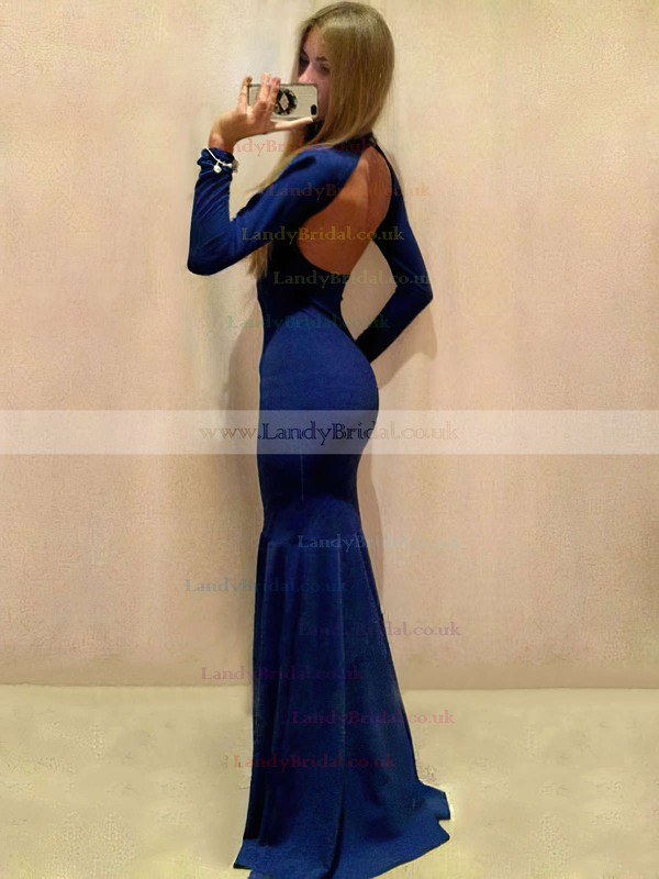 Trumpet/Mermaid High Neck Silk-like Satin Sweep Train Prom Dresses #LDB020105595