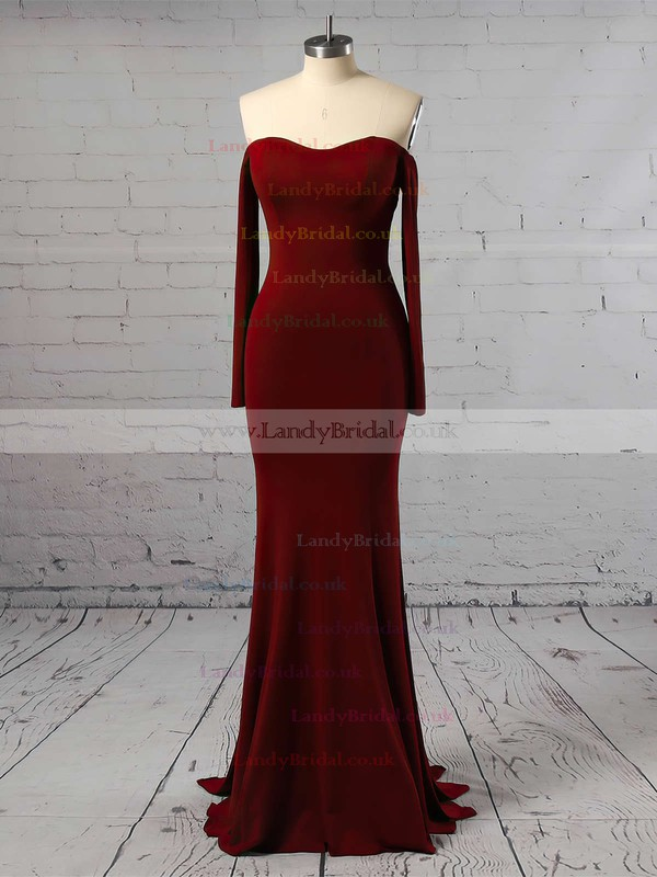 Sheath/Column Off-the-shoulder Jersey Sweep Train Prom Dresses #LDB020105596