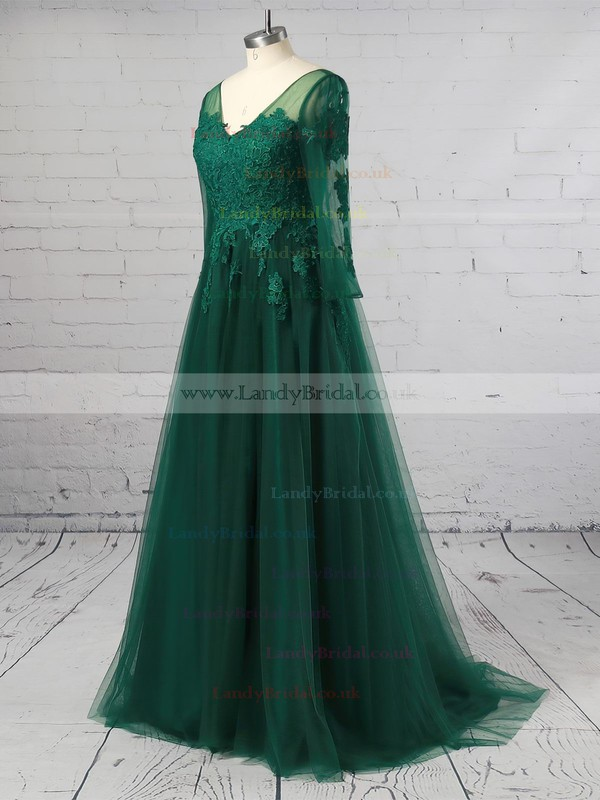A-line V-neck Tulle Sweep Train Appliques Lace Prom Dresses #LDB020105633
