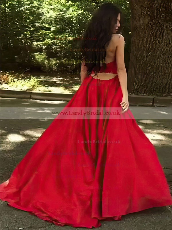 Princess V-neck Satin Sweep Train Ruffles Prom Dresses #LDB020105675