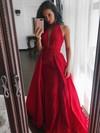 Princess V-neck Satin Sweep Train Ruffles Prom Dresses #LDB020105675