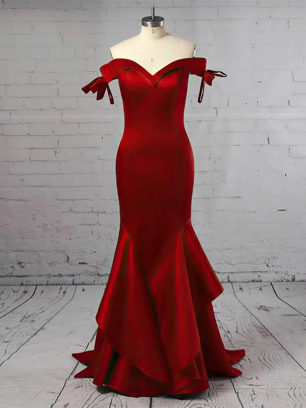 Trumpet/Mermaid Off-the-shoulder Satin Sweep Train Prom Dresses #LDB020105698