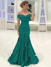 Trumpet/Mermaid Off-the-shoulder Silk-like Satin Sweep Train Ruffles Prom Dresses #LDB020105700