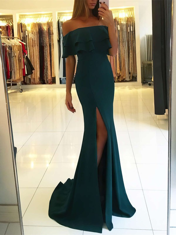 Trumpet/Mermaid Off-the-shoulder Silk-like Satin Sweep Train Split Front Prom Dresses #LDB020105701
