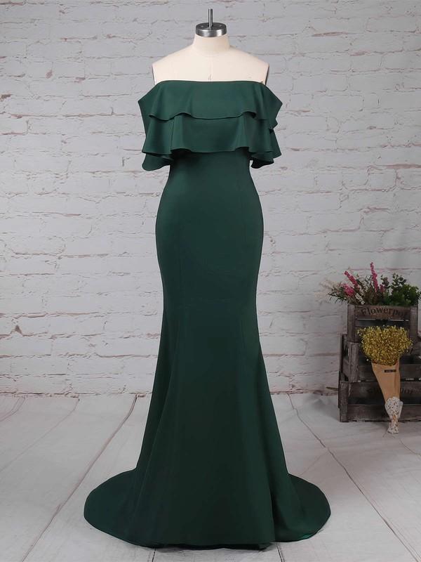 Trumpet/Mermaid Off-the-shoulder Silk-like Satin Sweep Train Split Front Prom Dresses #LDB020105701