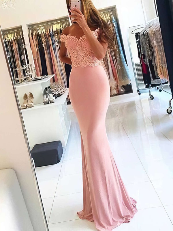 Sheath/Column Off-the-shoulder Jersey Sweep Train Beading Prom Dresses #LDB020105707