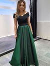 A-line Off-the-shoulder Satin Floor-length Ruffles Prom Dresses #LDB020105714