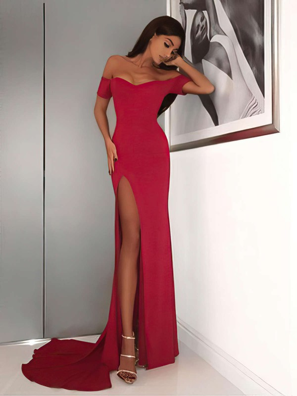 Sheath/Column Off-the-shoulder Jersey Sweep Train Split Front Prom Dresses #LDB020105720