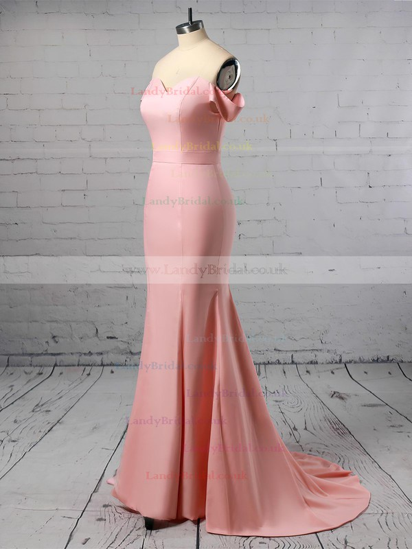 Trumpet/Mermaid Off-the-shoulder Silk-like Satin Sweep Train Sashes / Ribbons Prom Dresses #LDB020105727