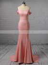 Trumpet/Mermaid Off-the-shoulder Silk-like Satin Sweep Train Sashes / Ribbons Prom Dresses #LDB020105727